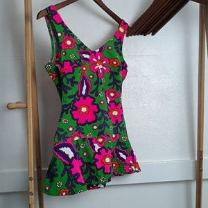 Vintage Swimdress Low Back Floral Swimsuit 70s
